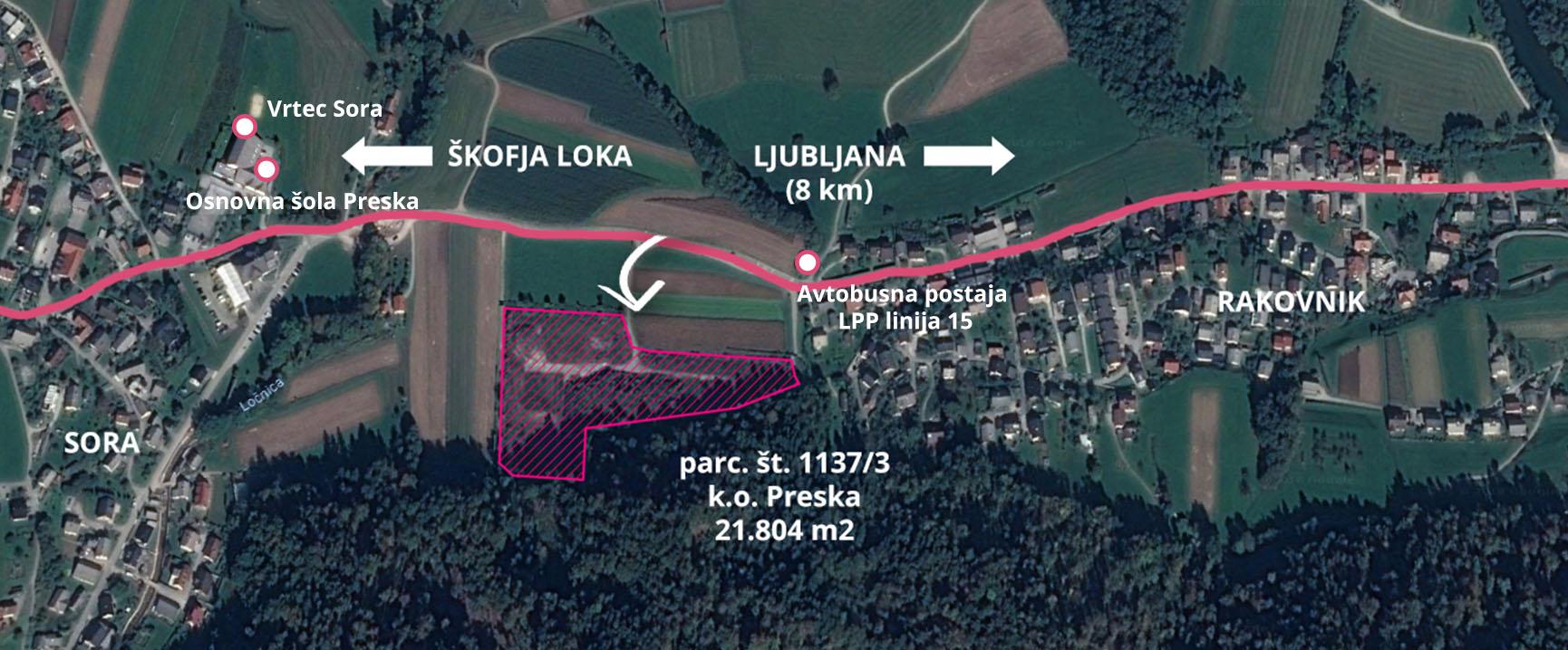 Urbanizem Rakovnik – lokacija